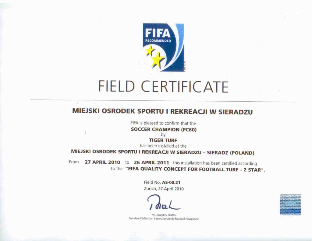 Certyfikat Fifa 2 Star - Sieradz
