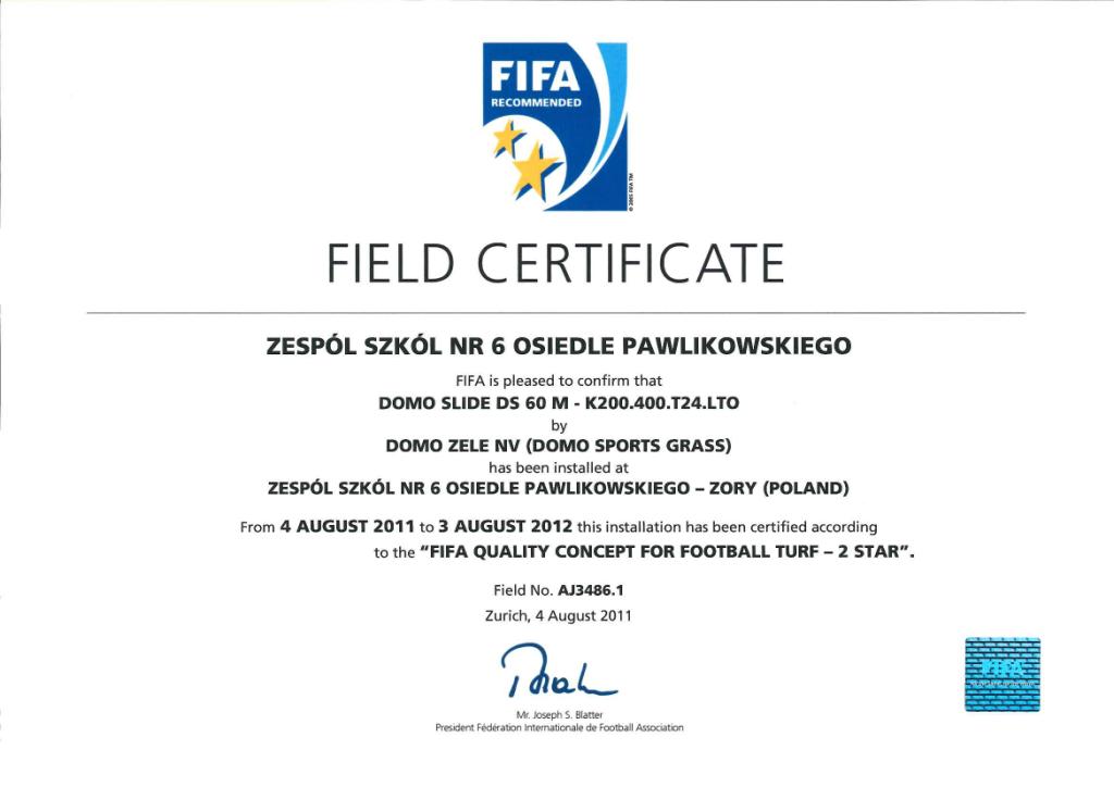 certyfikat Fifa 2 Star - Żory
